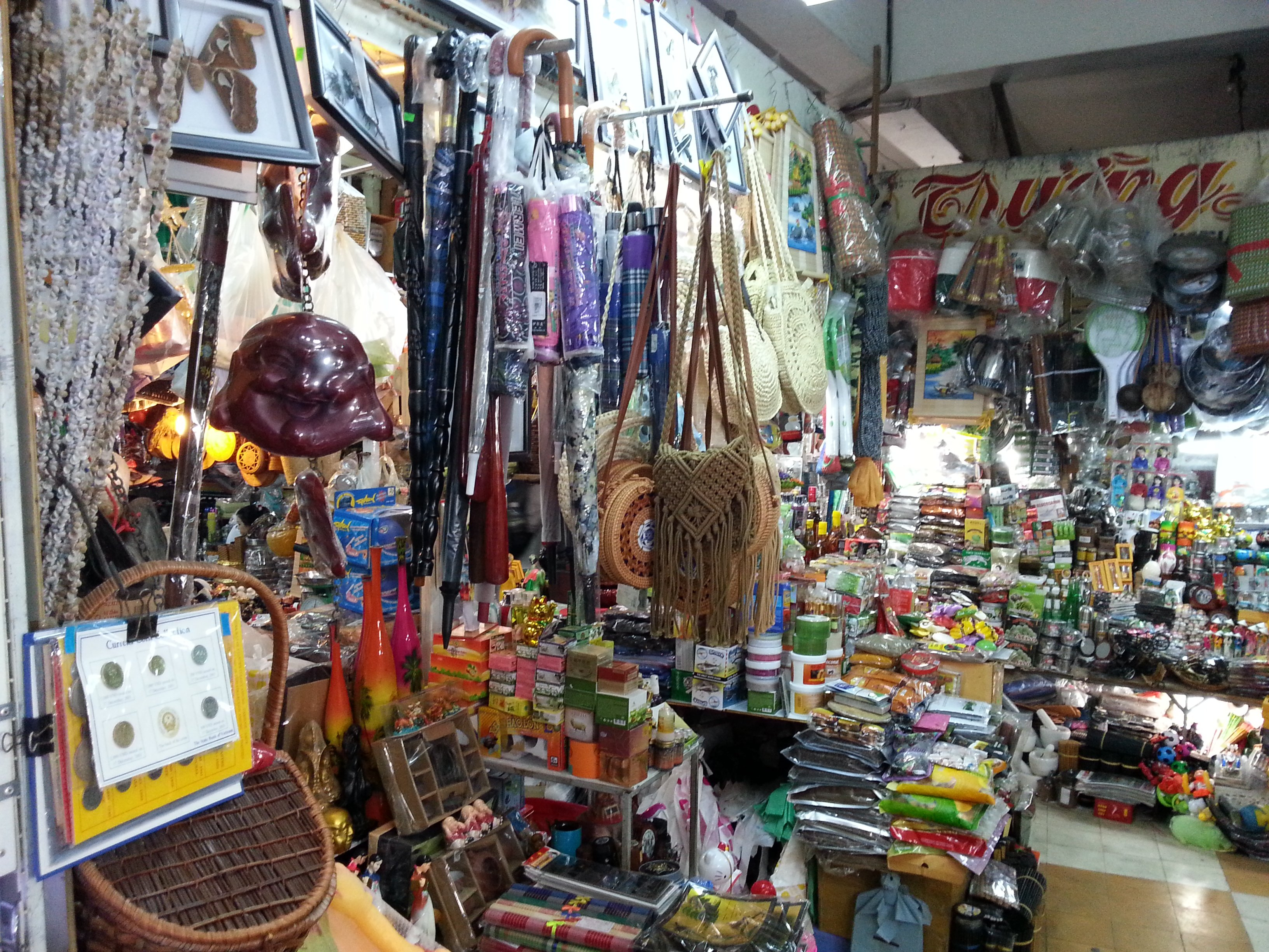 Souvenirs on sale in the clothing section of Nha Trang Market