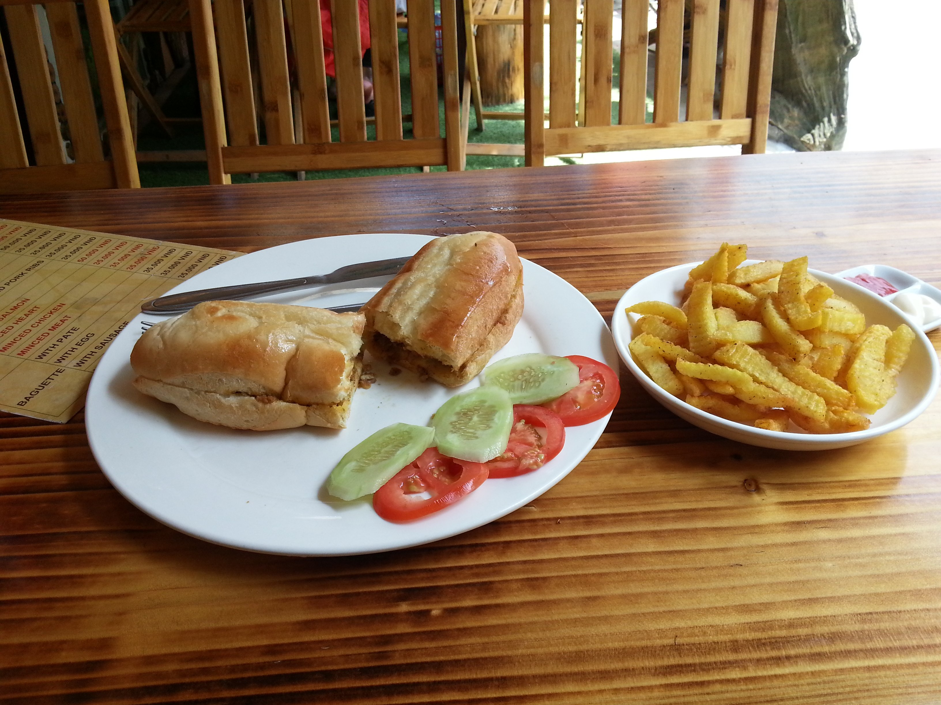 Pate Banh mi with fries in Sapa